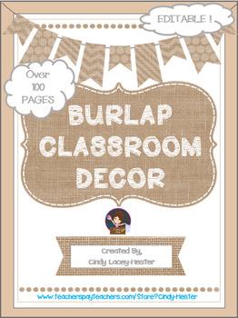 Burlap Classroom Decor - EDITABLE