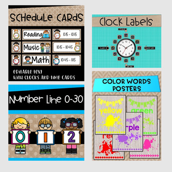 Burlap Classroom Decor~Math Posters~Word Wall~Mega Bundle