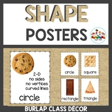 Burlap Classroom Decor Shape Posters with attributes