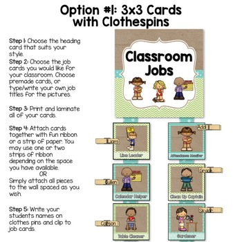 Burlap Classroom Decoration: Classroom Job Chart (2 Options)