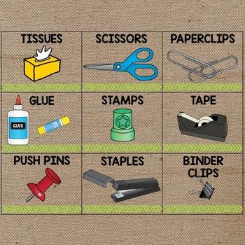 Burlap Classroom Decoration: Classroom Labels