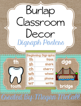 Burlap Classroom Decoration: Digraph Posters