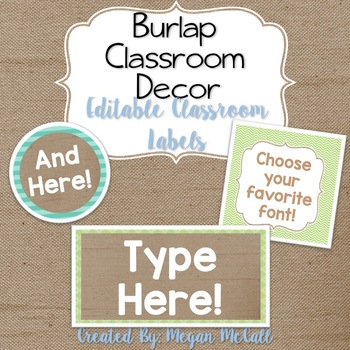 Burlap Classroom Decoration: Editable Classroom Labels