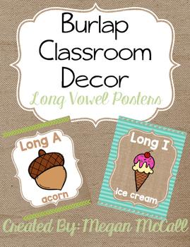 Burlap Classroom Decoration: Long Vowel Posters