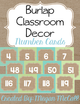Burlap Classroom Decoration: Number Cards (0-120)