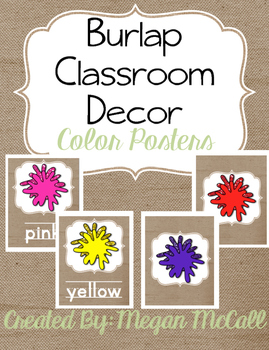 Burlap Classroom Decoration: Color Posters