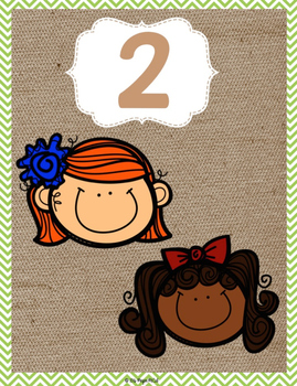 Burlap Classroom Decoration: Picture Number Set Cards