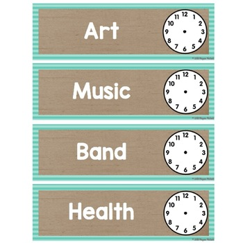 Burlap Classroom Decoration: Schedule Cards with Clock Faces