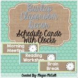 Editable Burlap Classroom Decoration: Schedule Cards with Clock Faces