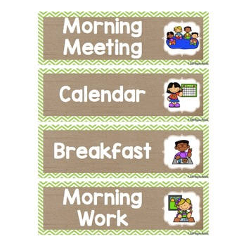 Burlap Classroom Decoration: Schedule Cards with Pictures