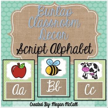 Burlap Classroom Decoration: Script Alphabet Posters