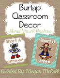Burlap Classroom Decoration: Short Vowel Posters