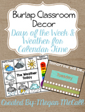 Burlap Classroom Decoration: Weather & Days of the Week Ca