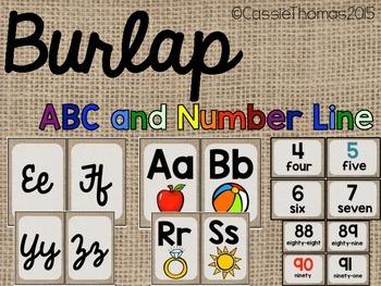 Burlap Classroom Labels {Plain, Print, Cursive, and Number line}