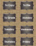 Burlap Classroom Labels with Chalkboard Frame Editable