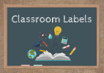 Burlap Classroom Material Labels (Only Words)