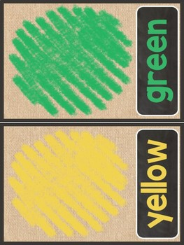Burlap Color Word Posters
