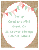 Burlap, Coral, and Mint Stack-On 22 Drawer Labels