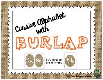 Burlap Cursive Alphabet