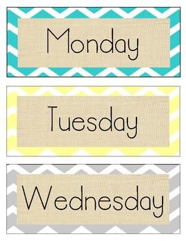 Burlap Days of the Week