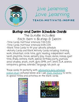 Burlap & Denim Daily Schedule Cards