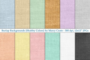 Burlap Digital Papers: set of 12 (pastels, brown, black, white)