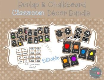 Burlap Dots Classroom Decor Bundle