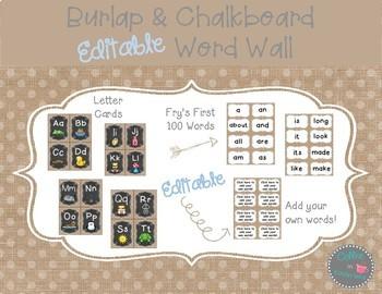 Burlap Dots Editable Word Wall