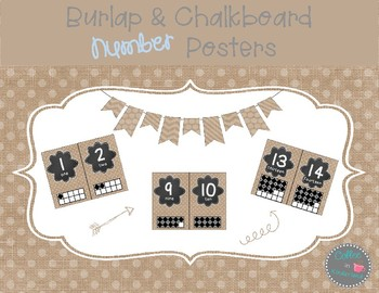 Burlap Dots Number Posters