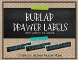 Burlap Drawer Labels- With a Splash of Teal and Lime