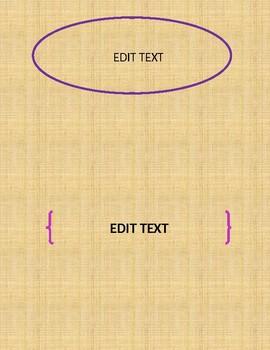 Burlap Editable Binder Covers