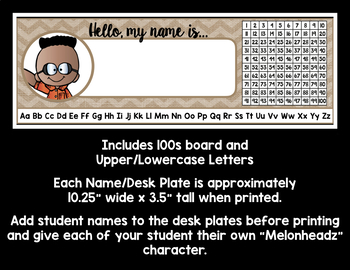 Burlap Editable LARGE Name/Desk Plates & Personalized Labels