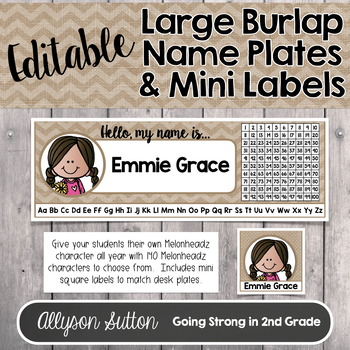 Farmhouse Editable LARGE Name/Desk Plates & Personalized Labels