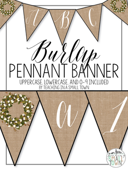 Burlap Farmhouse Pennant Banner in Cursive
