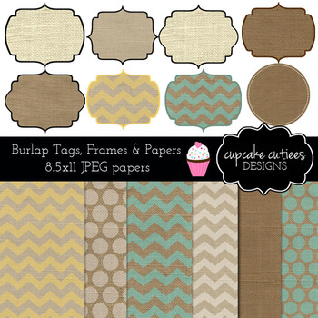 Burlap Frames, Tags and Papers Digital Clip Art Set with Paper Collection