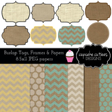 Burlap Frames, Tags and Papers Digital Clip Art Set with P