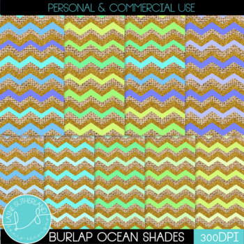 Burlap & Glitter Ocean Shades Digital Paper