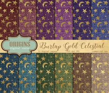 Burlap Gold Celestial digital paper backgrounds textures night sky stars