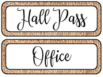Burlap Hall Passes