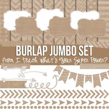 Digital Papers and Frames Burlap Jumbo Set