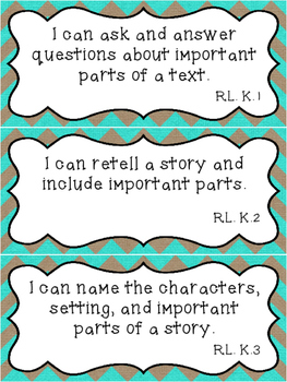 "Burlap Kindergarten CCSS standards and ""I can"" statements"