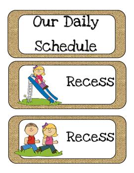 Burlap Kindergarten Schedule