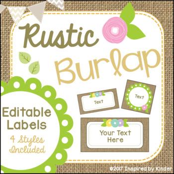Burlap Labels {Editable}