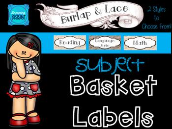 Burlap & Lace Basket Labels {Subjects}
