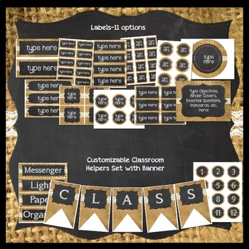 Burlap and Chalkboard (with Lace) Classroom Decor Bundle