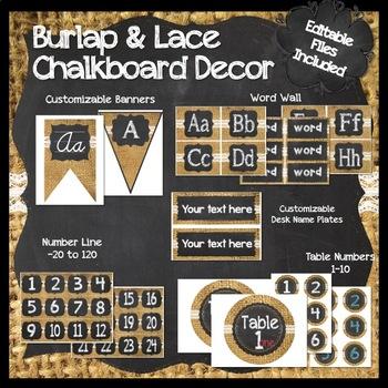 Burlap, Chalkboard, and Lace Classroom Decor