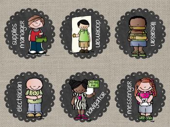 Burlap & Lace Classroom Jobs featuring Melonheadz