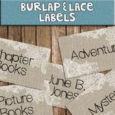 Burlap & Lace Library Labels