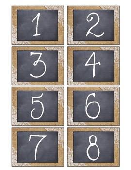 Burlap & Lace Number Labels 1-30
