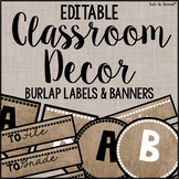 Editable Burlap Classroom Decor Flags, Circles, Squares, Rectangles, and Labels